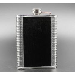 Petaca Acero Inox y cuero negro 90Z
